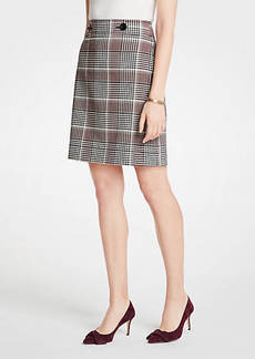 Ann Taylor Petite Plaid Button Tab A-Line Skirt
