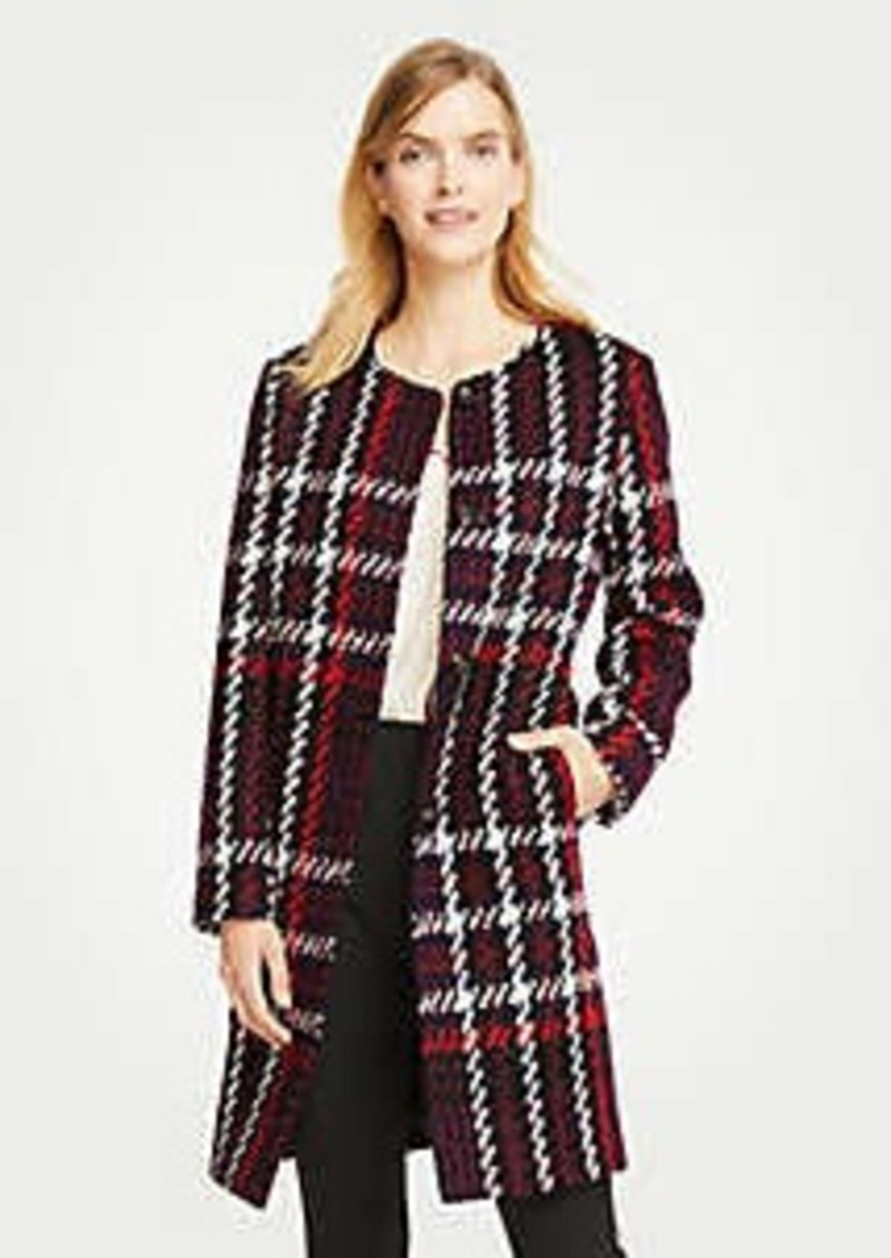 Ann Taylor Petite Plaid Jewel Neck Coat