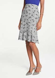 Ann Taylor Petite Plaid Floral Flounce Pencil Skirt