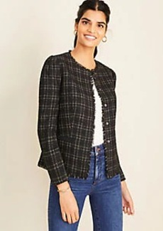 Ann Taylor Petite Shimmer Plaid Fringe Tweed Jacket
