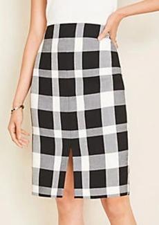 Ann Taylor Petite Plaid Front Slit Pencil Skirt
