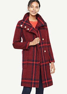 Ann Taylor Petite Plaid Funnel Neck Coat