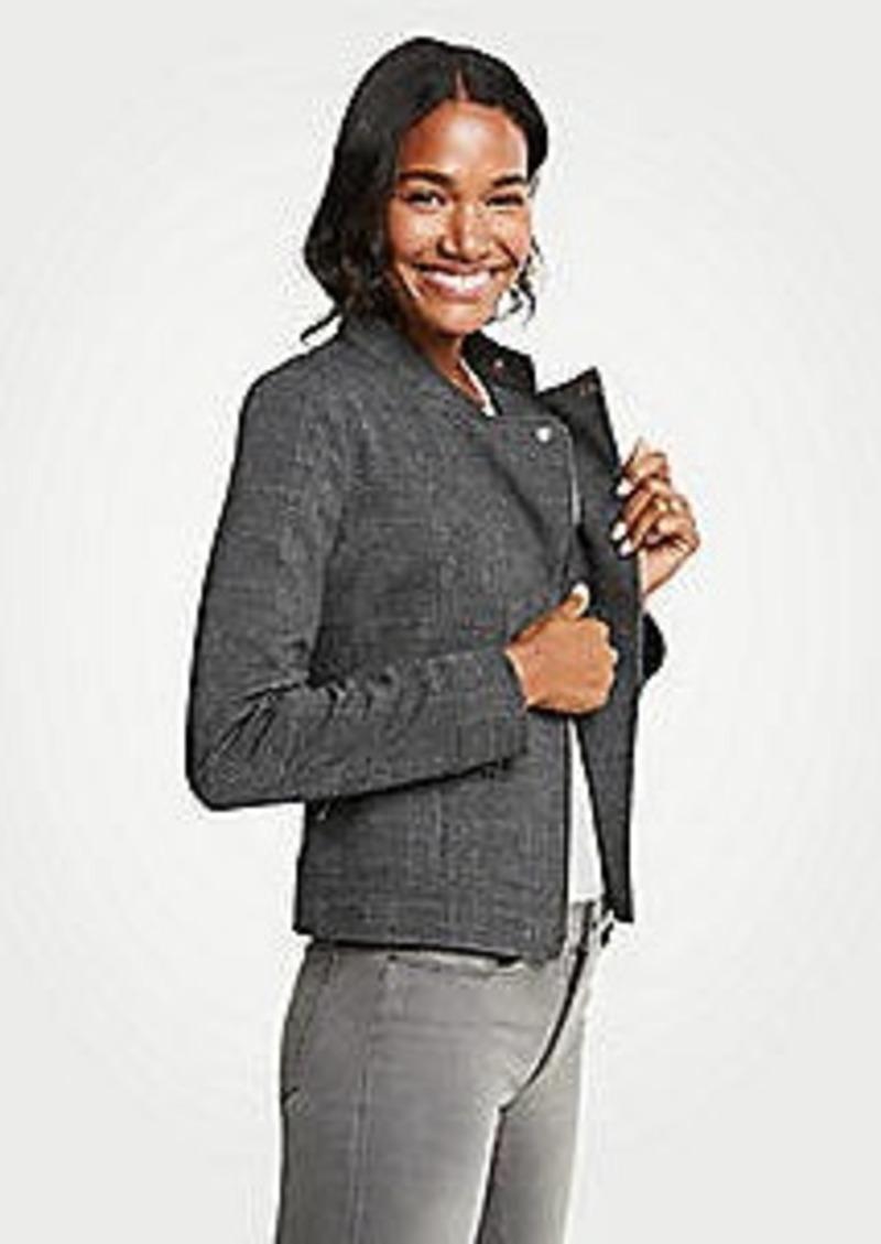 Ann Taylor Petite Plaid Knit Moto Jacket