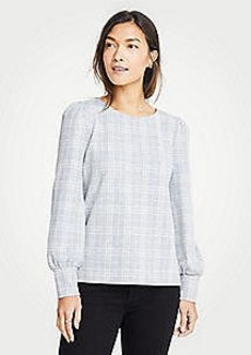 Ann Taylor Petite Plaid Puff Sleeve Sweatshirt