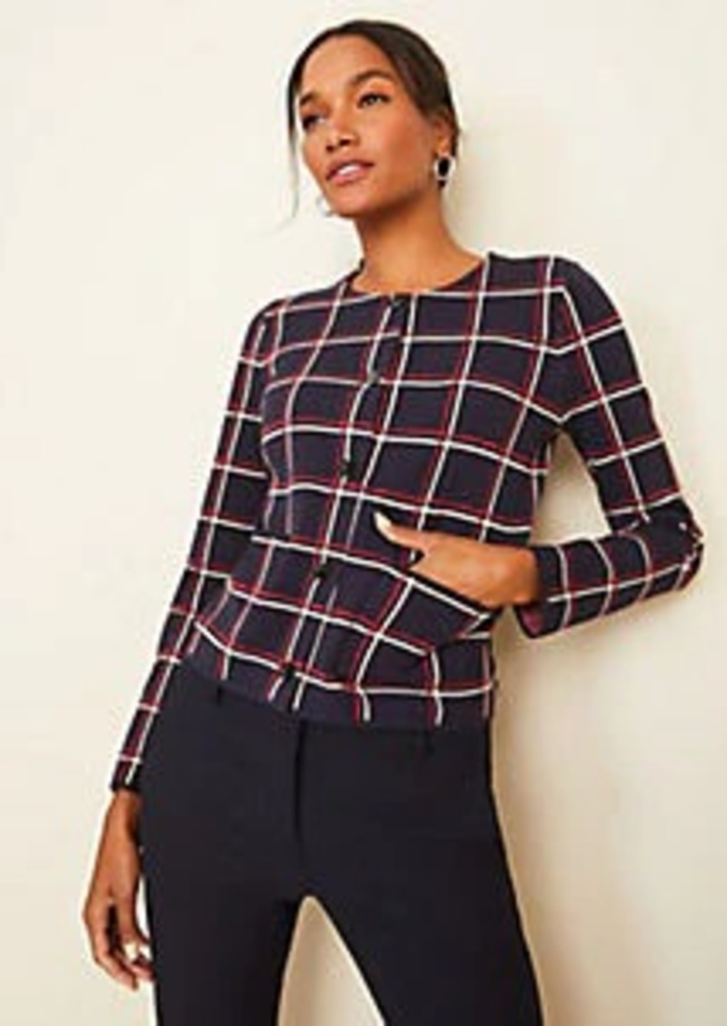 Ann Taylor Petite Plaid Seasonless Yarn Cardigan