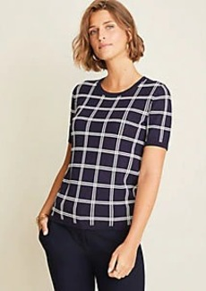 Ann Taylor Petite Plaid Seasonless Yarn Sweater Tee