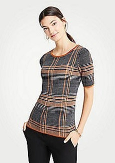 Ann Taylor Petite Plaid Short Sleeve Sweater