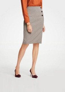 Ann Taylor Petite Plaid Side Button Pencil Skirt