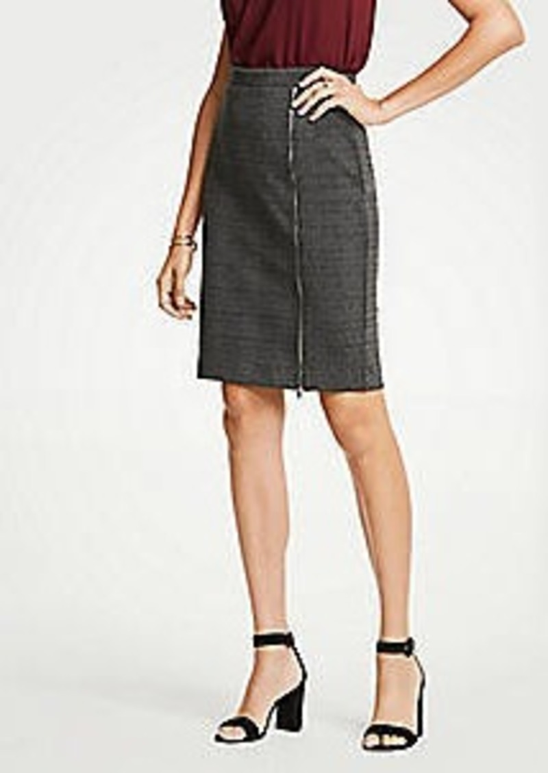 Ann Taylor Petite Plaid Zipper Pencil Skirt