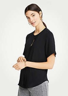 Ann Taylor Petite Pleat Front Keyhole Tee