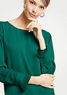 Ann Taylor Petite Pleated Cuff Boatneck Blouse