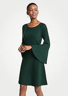 Ann Taylor Petite Pleated Flare Sleeve Sweater Dress