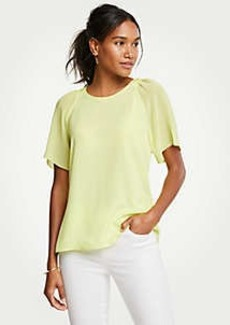 Ann Taylor Petite Pleated Sleeve Tee