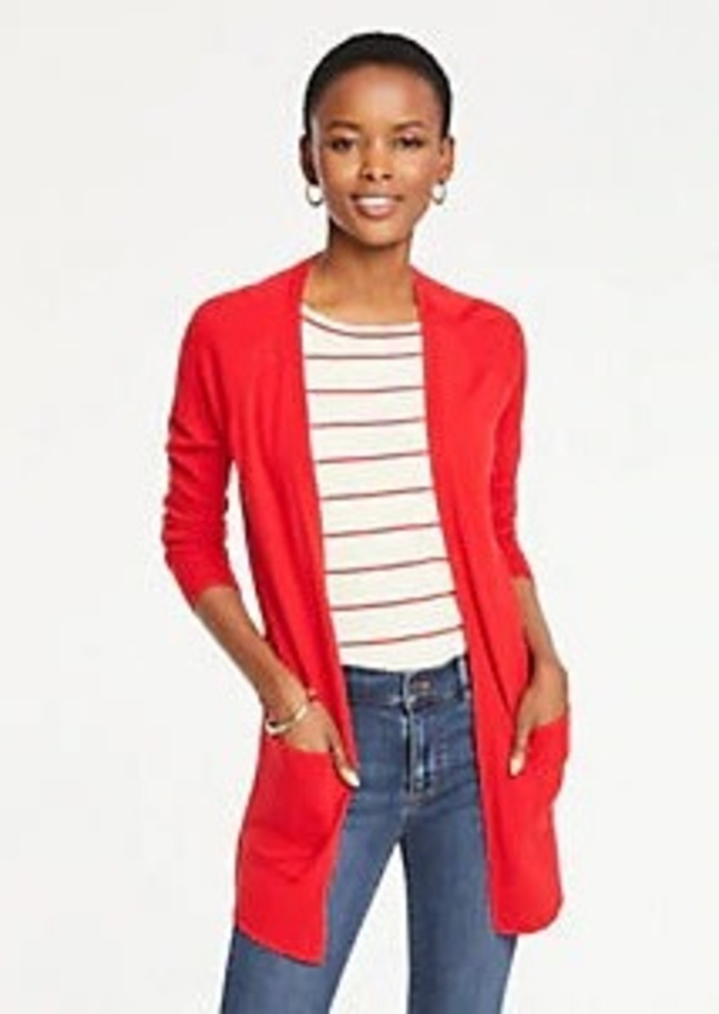 Ann Taylor Petite Pointelle Pocket Open Cardigan