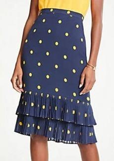 Ann Taylor Petite Polka Dot Pleated Pencil Skirt