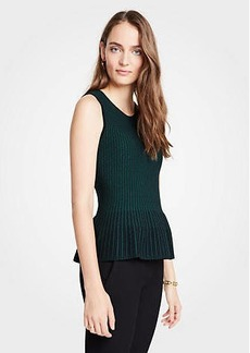 Ann Taylor Petite Stitched Sleeveless Peplum Sweater