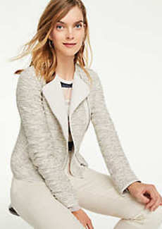 Ann Taylor Petite Quilted Tweed Moto Jacket