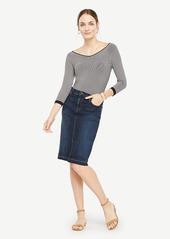 Ann Taylor Petite Raw Hem Denim Pencil Skirt