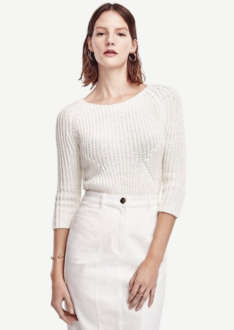 Ann Taylor Petite Ribbed 3/4 Sleeve Sweater