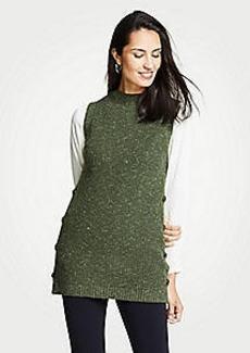 Ann Taylor Petite Ribbed Mock Neck Sleeveless Tunic Sweater
