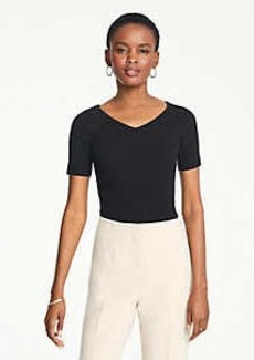 Ann Taylor Petite Ribbed V-Neck Short Sleeve Sweater