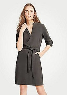 Ann Taylor Petite Roll Tab Sleeve Belted Shirtdress