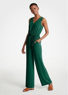 Ann Taylor Petite Rope Belt V-Neck Jumpsuit