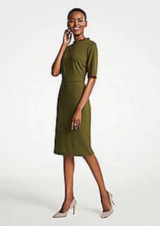 Ann Taylor Petite Ruffle Neck Ponte Sheath Dress