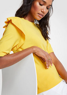 Ann Taylor Petite Ruffle Shoulder Sweater