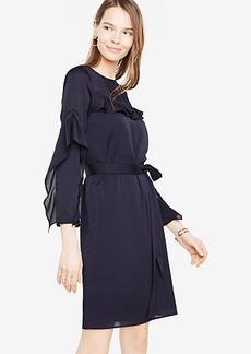 Ann Taylor Petite Ruffle Sleeve Lace Inset Dress