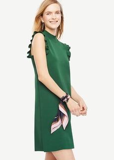 Petite Ruffle Sleeve Mock Neck Dress