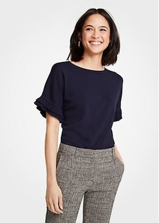 Ann Taylor Petite Ruffled Short Sleeve Sweater