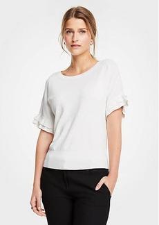 Ann Taylor Petite Ruffled Short Sleeve Sweater