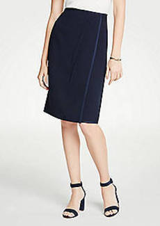 Ann Taylor Petite Satin Trim Wrap Pencil Skirt