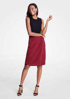 Ann Taylor Petite Satin Trim Wrap Pencil Skirt