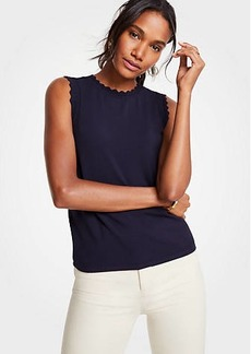 Ann Taylor Petite Scallop Trim Crew Neck Shell