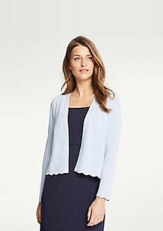 Ann Taylor Petite Scalloped Open Cardigan
