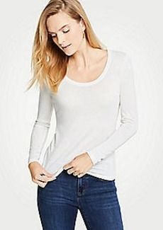 Ann Taylor Petite Scoop Neck Long Sleeve Tee