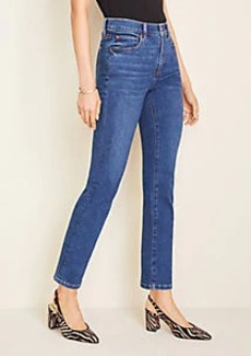 Ann Taylor Petite Sculpting Pockets High Rise Straight Leg Jeans in Indigo Wash