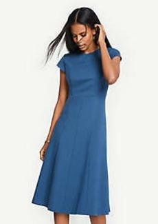Ann Taylor Petite Seamed Ponte Flare Dress
