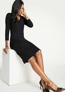 Ann Taylor Petite Seamed V-Neck Ponte Sheath Dress
