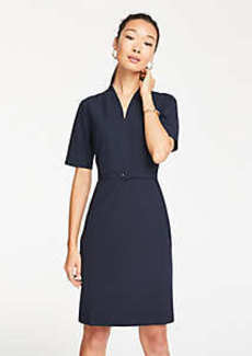 Ann Taylor Petite Seasonless Stretch Belted Elbow Sleeve Dress