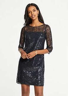 Ann Taylor Petite Sequin Lace Shift Dress