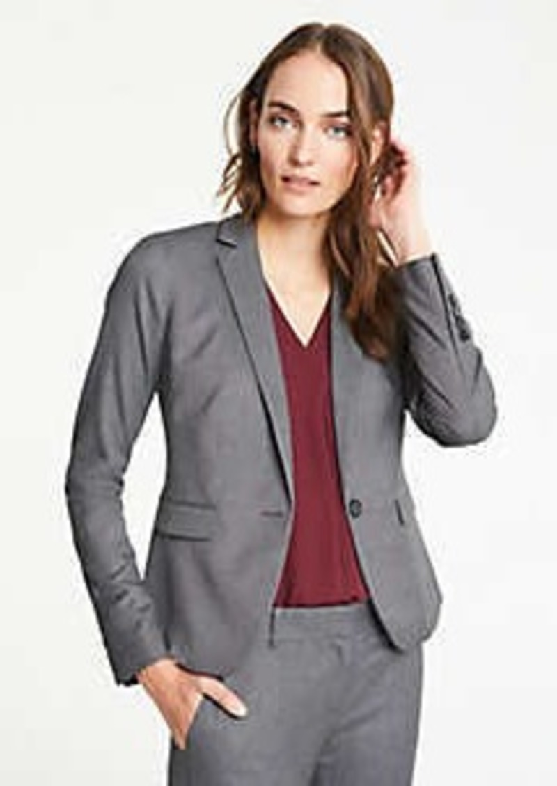 Ann Taylor The Petite One-Button Blazer in Sharkskin