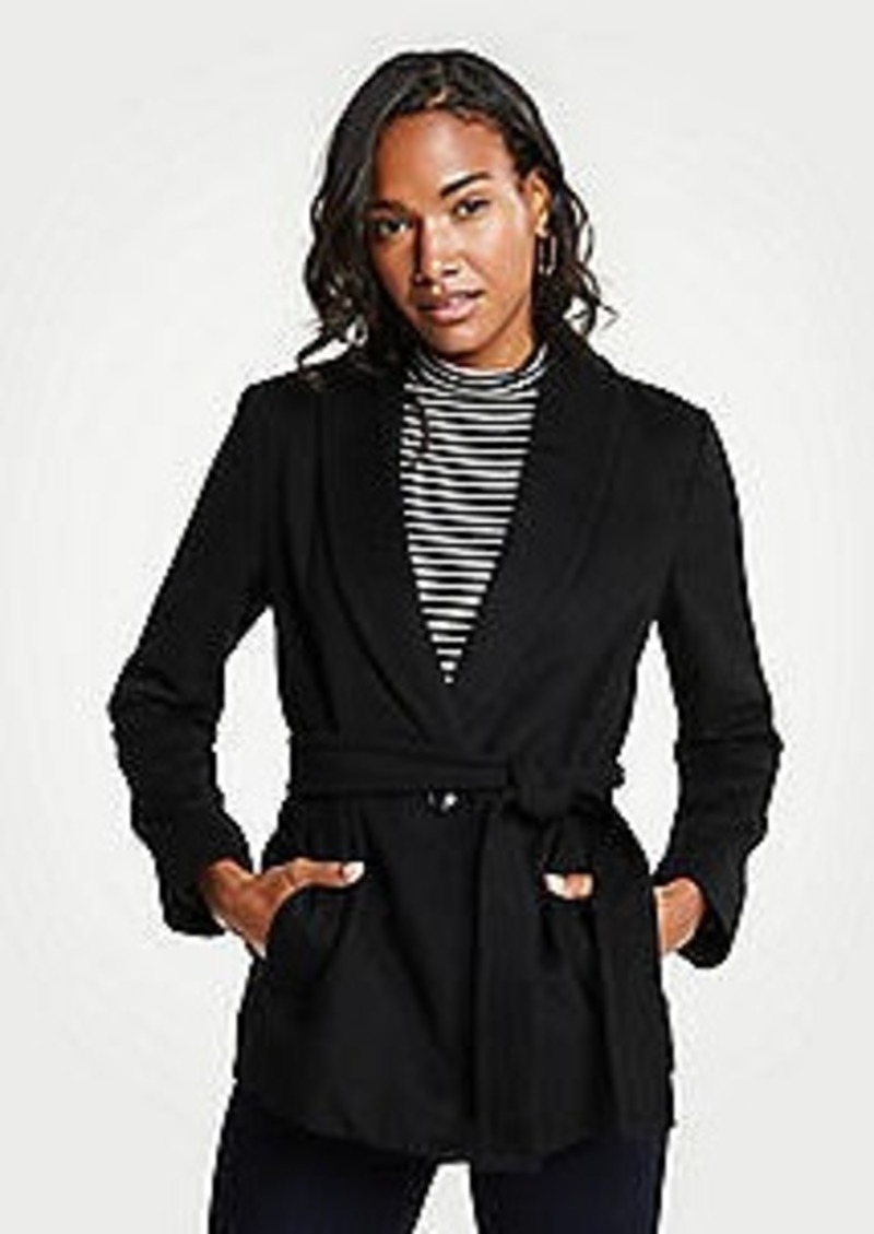 Ann Taylor Petite Shawl Collar Belted Coat