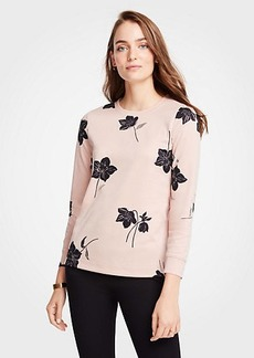 Ann Taylor Petite Shimmer Floral Sweatshirt