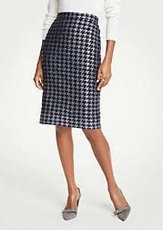 Ann Taylor Petite Shimmer Houndstooth Pencil Skirt