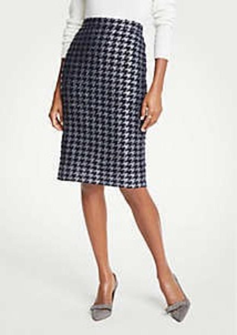 Ann Taylor Petite Shimmer Houndstooth Pencil Skirt