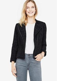 Ann Taylor Petite Shimmer Tweed Moto Jacket