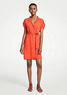 Ann Taylor Petite Short Sleeve Tie Waist Shirtdress